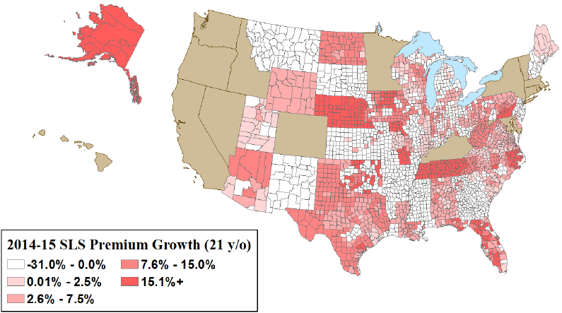 Figure 2. Most counties experienced low to negative growth in second lowest cost silver plan premiums