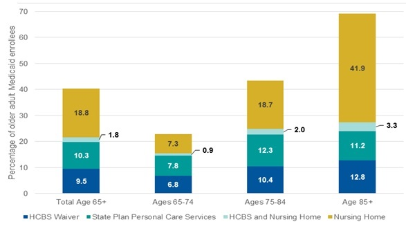 EXHIBIT 1, Bar Chart. Total Age 65+: Nursing Home (18.8), HCBS and Nursing Home (1.8), State Plan Personal Care Services (10.3), HCBS Waiver (9.5). Total Age 65-74: Nursing Home (7.3), HCBS and Nursing Home (0.9), State Plan Personal Care Services (7.8), HCBS Waiver (6.8). Total Age 75-84: Nursing Home (18.7), HCBS and Nursing Home (2.0), State Plan Personal Care Services (12.3), HCBS Waiver (10.4). Total Age 85+: Nursing Home (41.9), HCBS and Nursing Home (3.3), State Plan Personal Care Services (11.2), HCBS Waiver (12.8).