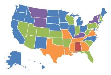 EXHIBIT 1.10, 2013 State Map: 0-10% = Kentucky, Montana, New York, Vermont, Wyoming. 11-25% = Alaska, California, Connecticut, Hawaii, Idaho, Illinois, Iowa, Maine, Maryland, Michigan, Minnesota, Nebraska, New Mexico, North Carolina, North Dakota, Ohio, Oregon, Rhode Island, South Dakota, Washington. 26-40% = Arizona, Arkansas, Colorado, Florida, Indiana, Kansas, Massachusetts, Nevada, New Hampshire, New Jersey, Oklahoma, Pennsylvania, South Carolina, Utah, West Virginia, Wisconsin. 41-60% = Georgia, Louisiana, Mississippi, Missouri, Tennessee, Texas, Virginia. More than 60% = Alabama, Delaware.