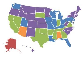 EXHIBIT 1.8, 2000 State Map: 0-10% = Colorado, Connecticut, Hawaii, Idaho, Kansas, Maine, Massachusetts, Minnesota, Montana, Nebraska, New Hampshire, New Mexico, New York, North Carolina, North Dakota, Oregon, Rhode Island, South Carolina, Vermont, West Virginia, Wyoming. 11-25% = Florida, Illinois, Iowa, Kentucky, Louisiana, Maryland, Michigan, Missouri, New Jersey, Ohio, Pennsylvania, Utah, Washington, Wisconsin. 26-40% = Arkansas, California, Georgia, Indiana, Mississippi, Nevada, Oklahoma, South Dakota, Tennessee, Texas, Virginia. 41-60% = Alabama, Arizona. More than 60% = Alaska, Delaware.