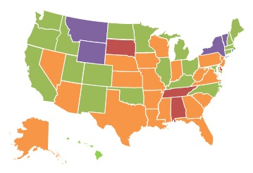EXHIBIT 1.8, 2013 State Map: 0-10% = Montana, New York, Vermont, Wyoming. 11-25% = none. 26-40% = California, Colorado, Connecticut, Hawaii, Idaho, Illinois, Kentucky, Maine, Maryland, Massachusetts, Michigan, Minnesota, New Hampshire, New Mexico, North Carolina, North Dakota, Ohio, Oklahoma, Oregon, Rhode Island, Utah, Washington. 41-60% = Alaska, Arizona, Arkansas, Florida, Georgia, Indiana, Iowa, Kansas, Louisiana, Mississippi, Missouri, Nebraska, Nevada, New Jersey, Pennsylvania, South Carolina, Texas, Virginia, West Virginia, Wisconsin. More than 60% = Alabama, Delaware, South Dakota, Tennessee.
