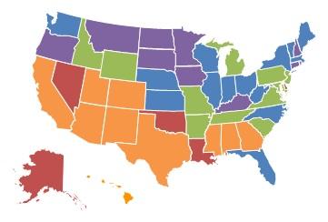 EXHIBIT 1.9, 2000 State Map: 0-10% = Connecticut, Iowa, Kentucky, Minnesota, Montana, New Hampshire, North Dakota, Oregon, Rhode Island, South Dakota. 11-25% = Florida, Illinois, Indiana, Kansas, Maine, Massachusetts, Nebraska, New York, North Carolina, Ohio, Vermont, Washington, West Virginia, Wisconsin. 26-40% = Arkansas, Idaho, Maryland, Michigan, Missouri, New Jersey, Pennsylvania, South Carolina, Tennessee, Virginia, Wyoming. 41-60% = Alabama, Arizona, California, Colorado, Georgia, Hawaii, Mississippi, New Mexico, Texas, Utah. More than 60% = Alaska, Delaware, Louisiana, Nevada, Oklahoma.