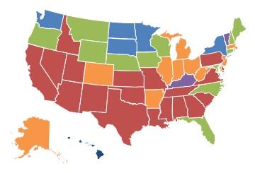 EXHIBIT 1.9, 2013 State Map: 0-10% = Kentucky, Vermont. 11-25% = Hawaii, Minnesota, New York, North Dakota, South Dakota, Washington. 26-40% = Connecticut, Florida, Iowa, Maine, Maryland, Montana, Nebraska, New Hampshire, North Carolina, Oregon, Rhode Island, Wisconsin, Wyoming. 41-60% = Alaska, Arkansas, Colorado, Illinois, Indiana, Massachusetts, Michigan, New Jersey, Ohio, West Virginia. More than 60% = Alabama, Arizona, California, Delaware, Georgia, Idaho, Kansas, Louisiana, Mississippi, Missouri, Nevada, New Mexico, Oklahoma, Pennsylvania, South Carolina, Tennessee, Texas, Utah, Virginia.