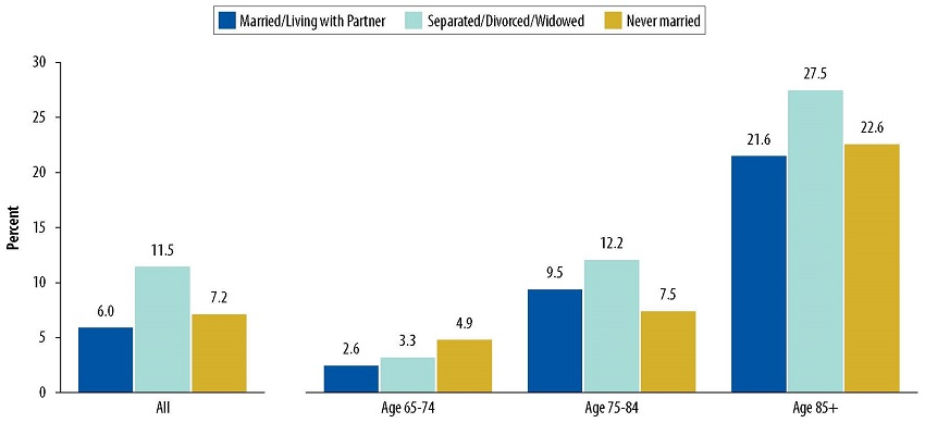Bar Chart: All--Married/Living with Partner 6.0, Separated/Divorced/Widowed 11.5, Never married 7.2. Age 65-74--Married/Living with Partner 2.6, Separated/Divorced/Widowed 3.3, Never married 4.9. Age 75-84--Married/Living with Partner 9.5, Separated/Divorced/Widowed 12.2, Never married 7.5. Age 85+--Married/Living with Partner 21.6, Separated/Divorced/Widowed 27.5, Never married 22.6.