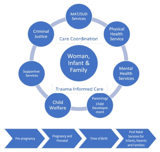 "EXHIBIT 1. This exhibit includes a graph that represented the core components of family-centered MAT treatment. In the middle of the graph is a circle with a heading ""Woman, Infant and Family"". Around this central circle are 7 smaller circles named as follows: MAT and SUD services, Physical Health Services, Mental Health Services, Parenting and Child Development, Child Welfare, Supportive Services, Criminal Justice. Written across the central circle and the seven smaller circles are the concepts of ""Trauma-Informed Care"" and ""Care Coordination"" as overarching themes for family-centered MAT services. At the bottom of the graph, below all circles, are four individual text block that represent the cycle of maternity care including pre-pregnant, pregnancy and prenatal, time of birth and post-natal services for infants, parents and families."