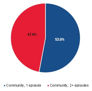 FIGURE III.11, Pie Chart: This figure shows the proportion of community-admitted patients who were short-term or long-term users. 53% of community-admitted patients were short-term users and 47% of community-admitted patients were long-term users.