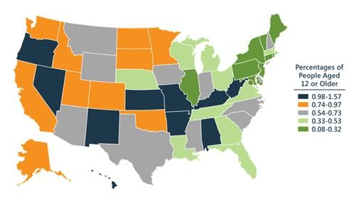 FIGURE 1.1, United States Map that shows the percentage of people aged 12 or older: 0.98-1.57 (Alabama, Arkansas, Hawaii, Kansas, Kentucky, Missouri, Nevada, New Mexico, Oregon, West Virginia); 0.74-0.97 (Alaska, California, Colorado, Idaho, Minnesota, North Dakota, Oklahoma, South Dakota, Utah, Washington); 0.54-0.73 (Arizona, Delaware, Indiana, Iowa, Mississippi, Montana, New Hampshire, North Carolina, South Carolina, Texas, Wyoming); 0.33-0.53 (Florida, Georgia, Louisiana, Massachusetts, Michigan, Nebraska, Ohio, Tennessee, Virginia, Wisconsin); 0.08-0.32 (Connecticut, District of Columbia, Illinois, Maine, Maryland, New Jersey, New York, Pennsylvania, Rhode Island, Vermont).
