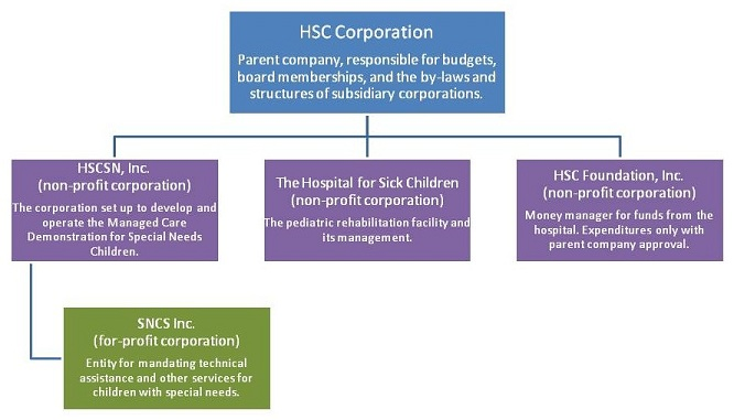 Organization Chart: HSC Corporation -- Parent company, responsible for budgets, board memberships, and the by-laws and structures of subsidiary corporations. Sublevel: HSCSN, Inc. (non-profit corporation) -- The corporation set up to develop and operate the Managed Care Demonstration for Special Needs Children. Also on sublevel: The Hospital for Sick Children (non-profit corporation) -- The pediatric rehabilitation facility and its management. Also on sublevel: HSC Foundation, Inc. (non-profit corporation) -- Money manager for funds from the hospital. Expenditures only with parent company approval. Sublevel of HSCSN, Inc.: SNCS Inc. (for-profit corporation) -- Entity for mandating technical assistance and other services for children with special needs.