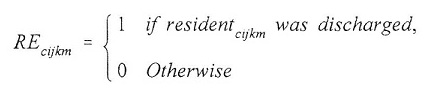 Equation: RE(subscript cijkm) = 1 if resident(subscript cijkm) was discharged, 0 otherwise.
