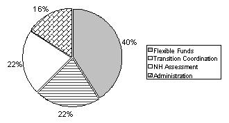 Pie Chart: Flexible Funds (40%); Transition Coordination (22%); NH Assessment (22%); Administration (16%).
