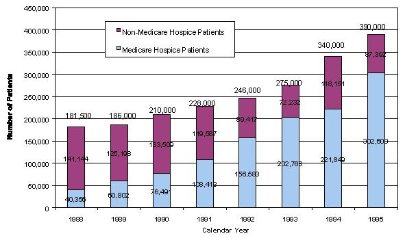 Bar Chart: Number of Patients by Calendar Year. 1988 Total (181,500); Non-Medicare Hospice Patients (141,144); Medicare Hospice Patients (40,356). 1989 Total (186,000); Non-Medicare Hospice Patients (125,198); Medicare Hospice Patients (60,802). 1990 Total (210,000); Non-Medicare Hospice Patients (133,509); Medicare Hospice Patients (76,491). 1991 Total (228,000); Non-Medicare Hospice Patients (119,587); Medicare Hospice Patients (108,413). 1992 Total (246,000); Non-Medicare Hospice Patients (89,417); Medicare Hospice Patients (156,583). 1993 Total (275,000); Non-Medicare Hospice Patients (72,232); Medicare Hospice Patients (202,768). 1994 Total (340,000); Non-Medicare Hospice Patients (118,151); Medicare Hospice Patients (221,849). 1995 Total (390,000); Non-Medicare Hospice Patients (87,392); Medicare Hospice Patients (302,608).