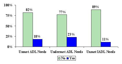 Bar Chart: Unmet ADL Needs -- No (82%), and Yes (18%). Undermet ADL Needs -- No (77%), and Yes (23%). Unmet IADL Needs -- No (89%), and Yes (11%).
