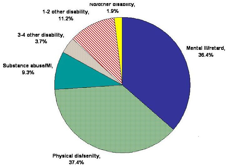 Pie Chart: Mental Ill/Retard: 36.4%; Physical Dis/Senilty: 37.4%; Substance Abuse/MI: 9.3%; 3-4 Other Disability: 3.7%; 1-2 Other Disability: 11.2%; No/Other Disability: 1.9%.