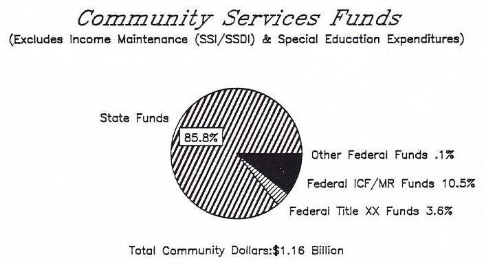Pie Chart of Community Services Funds: State Funds (85.8%), Other Federal Funds (0.1%), Federal ICF/MR Funds (10.5%), Federal Title XX Funds (3.6%).