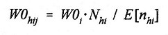 Equation: W0(subscript hij) = W0(subscript i) multiplied by N(subscript hi) divided by E[n(subscript hi)].