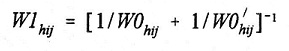 Equation: W1(subscript hij) = [1 divided by W0(subscript hij) plus 1 divided by W0 derivative of (subscript hij)] (superscript -1).