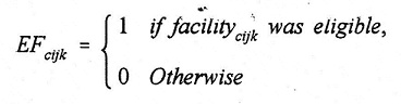 Equation: EF(subscript cijk) = 1 if facility(subscript cijk) was eligible, 0 Otherwise.