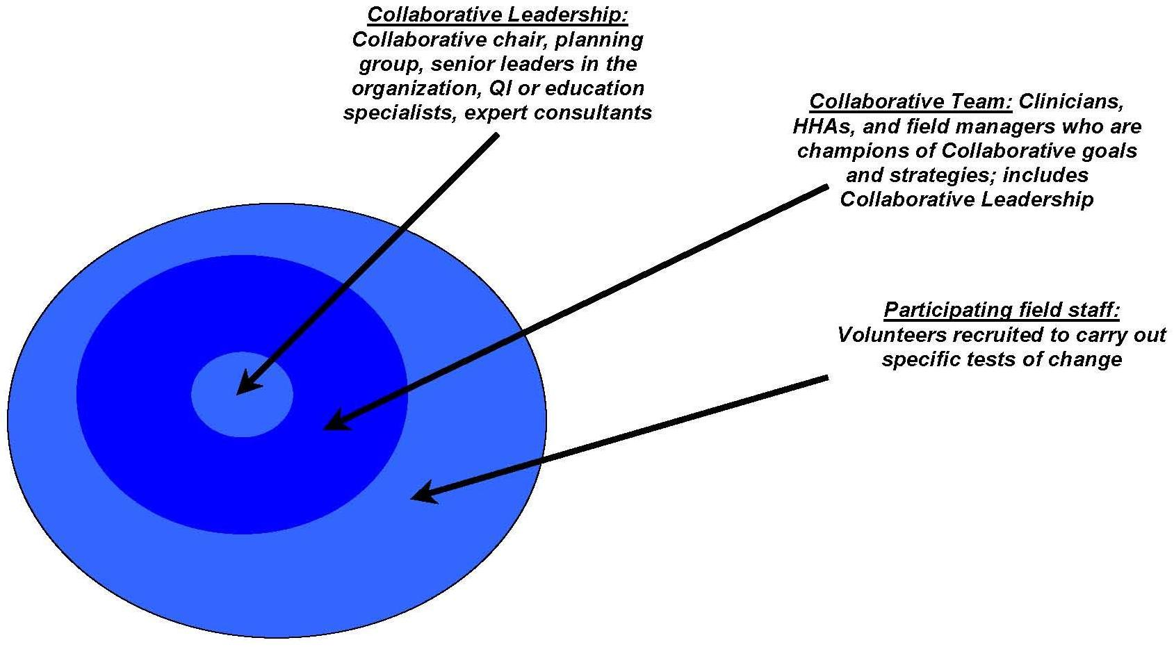 Circle Chart: INNER CIRCLE: Collaborative Leadership -- Collaborative chair, planning group, senior leaders in the organization, QI or education specialists, expert consultants. MIDDLE CIRCLE: Collaborative Team -- Clinicians, HHAs, and field managers who