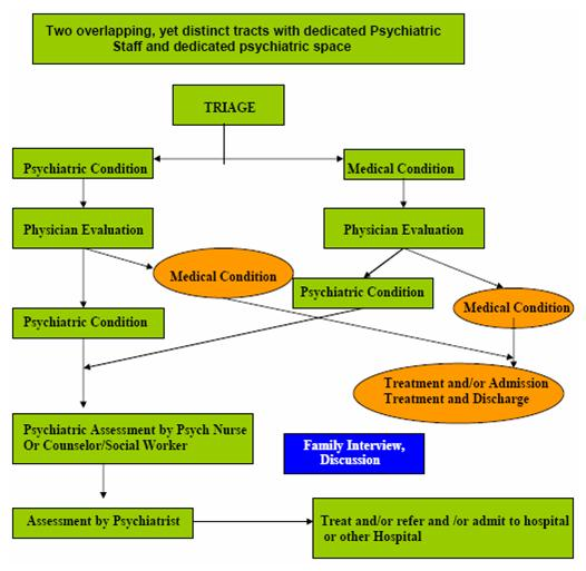 Organizational Chart: Two overlapping, yet distinct tracts with dedicated Psychiatric Staff and dedicated psychiatric space. Triage leads to Psychiatric Condition, which leads to Physician Evaluation, which leads to Medical Condition (or Psychiatric Condition, see below), which leads to Treatment and/or Admission Treatment and Discharge. Triage leads to Psychiatric Condition, which leads to Physician Evaluation, which leads to Psychiatric Condition (or Medical Condition, see above), which leads to Psychiatric Assessment by Psych Nurse or Counselor/Social Worker, which leads to Assessment by Psychiatrist, which leads to Treat and/or Refer and/or Admit to Hospital or Other Hospital. Triage leads to Medical Condition, which leads to Physician Evaluation, which leads to Psychiatric Condition (or Medical Condition, see below), which leads to Psychiatric Assessment by Psych Nurse or Counselor/Social Worker, which leads to Assessment by Psychiatrist, which leads to Treat and/or Refer and/or Admit to Hospital or Other Hospital. Triage leads to Medical Condition, which leads to Physician Evaluation, which leads to Medical Condition (or Psychiatric Condition, see above), which leads to Treatment and/or Admission Treatment and Discharge.