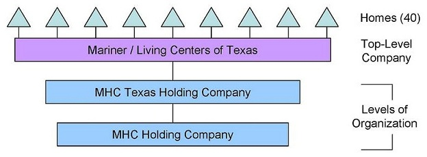 Organizational Chart: Levels of Organization -- MHC Holding Company, leading to MHC Texas Holding Company; Top-Level Company -- Mariner/Living Centers of Texas; Homes (40).