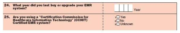 Survey questions. 24. What year did you last buy or upgrade your EMR system? Year 25. Are you using a Certification Commission for Healthcare Information Technology (CCHIT) Certified EMR system? 1 - Yes, 2 - No, 3 - Unknown