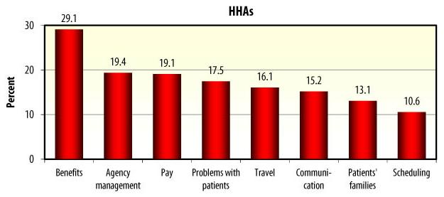 Bar Chart: HHAs -- Benefits (29.1), Agency management (19.4), Pay (19.1), Problems with patients (17.5), Travel (16.1), Communication (15.2), Patients' families (13.1), Scheduling (10.6).