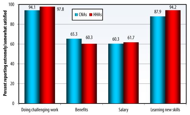 Bar Chart: Doing challenging work -- CNAs (94.1), HHAs (97.8); Benefits -- CNAs (65.3), HHAs (60.3); Salary -- CNAs (60.3), HHAs (61.7); Learning new skills -- CNAs (87.9), HHAs (94.2).