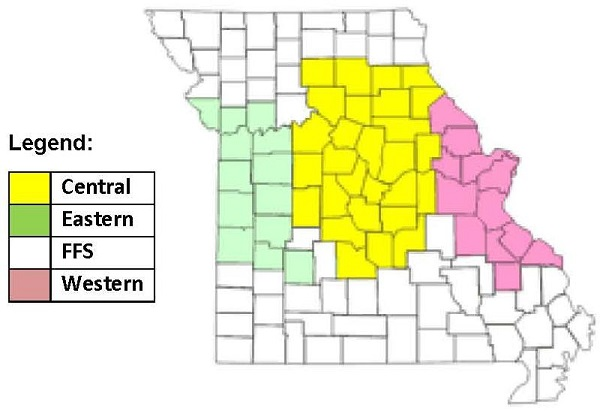 A map of the State of Missouri, broken down into counties and shaded according to the regions Central, Eastern, FFS, and Western.