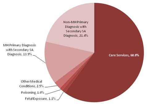 This is a pie chart that displays the percentage of Medicaid enrollees with a SA diagnosis by source of diagnosis. The shares are:  Core services 60.0 percent, fetal exposure 1.1 percent, poisoning 1.0 percent, other medical conditions 2.5 percent, MH primary diagnosis with secondary SA diagnosis 13.9 percent, and non-MH primary diagnosis with secondary SA diagnosis 21.4 percent.