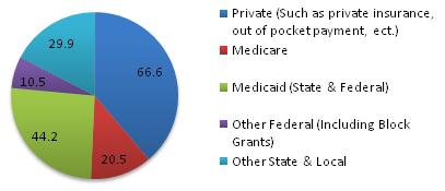 Pie chart: Private 66.6; Medicare 20.5; Medicaid 44.2; Other Federal 10.5; Other State & Local 29.9.