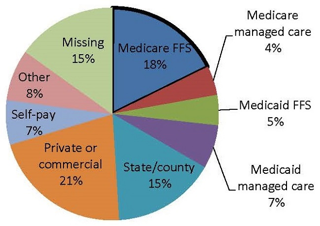 FIGURE VII.1, Pie Chart: Medicare FFS (18%), Medicare managed care (4%), Medicaid FFS (5%), Medicaid managed care (7%), State/county (15%), Private or commercial (21%), Self-pay (7%), Other (8%), Missing (15%).