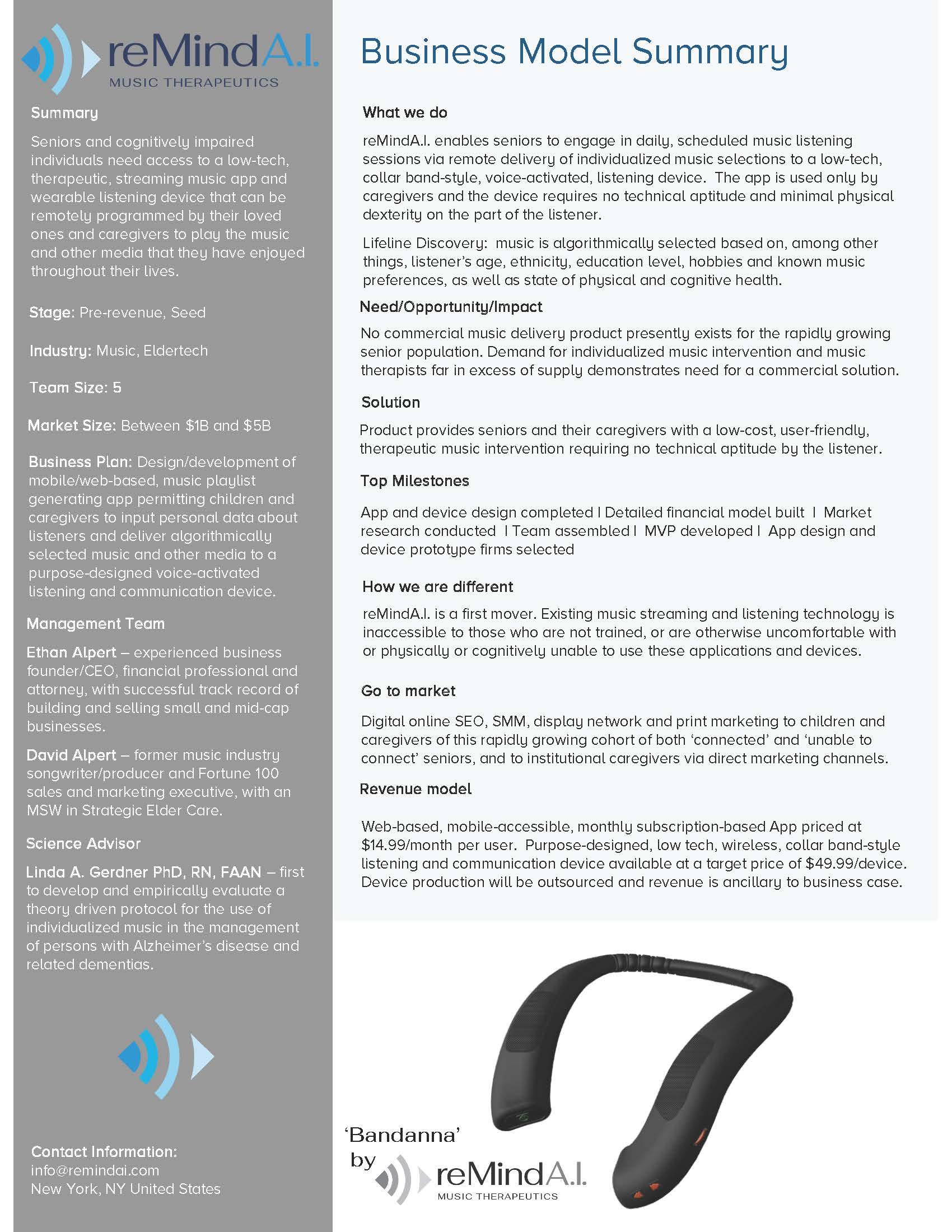 reMindA.I. Business Model Summary flyer.
