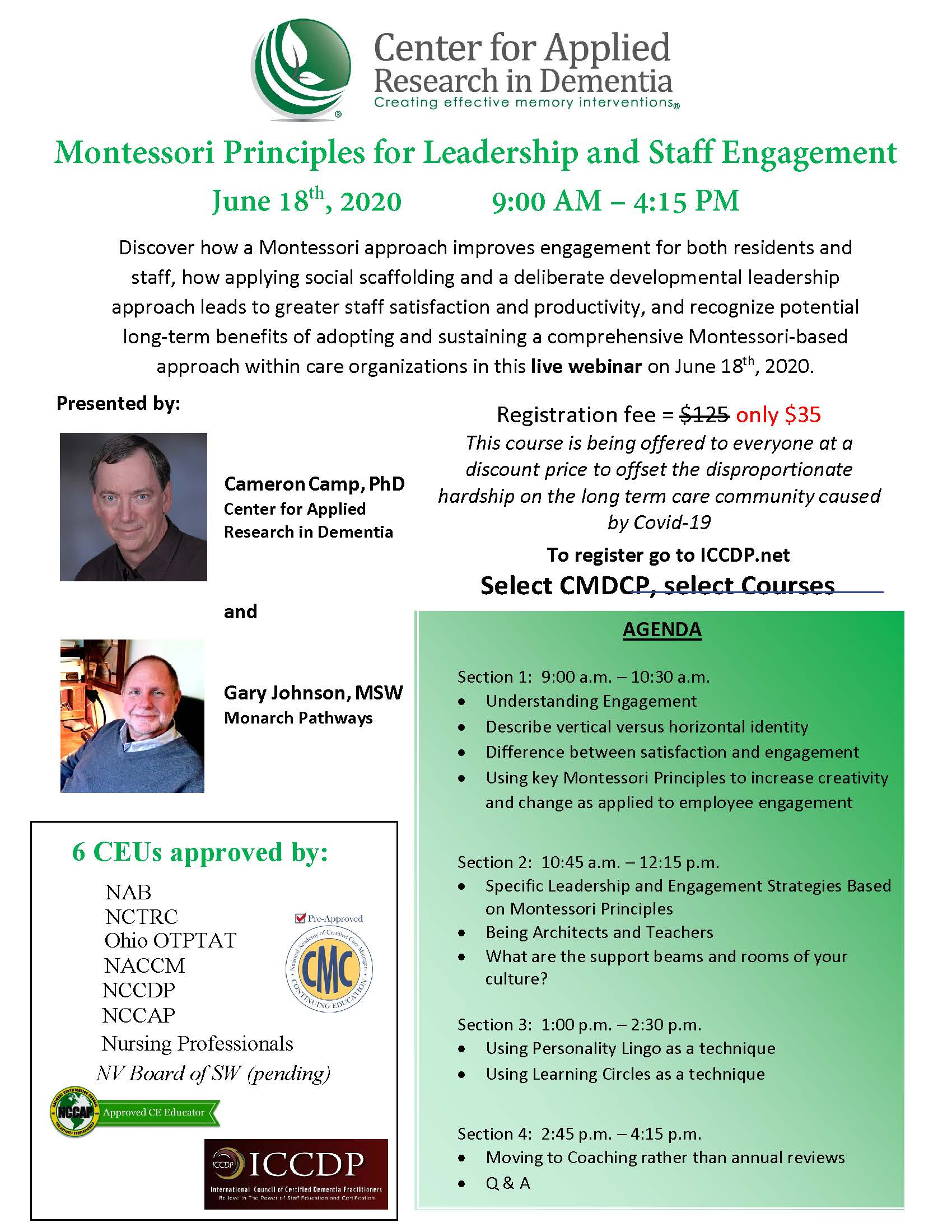 Montessori Principles for Leadership and Staff Engagement flyer.