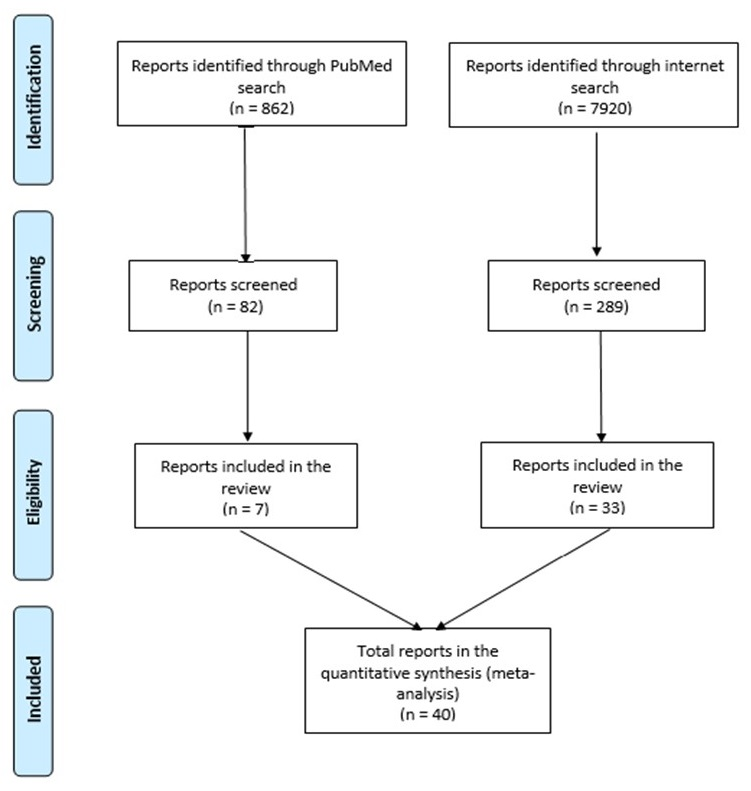 FIGURE 1, Flow Diagram with Four Steps and 2 paths: Step 1) Identification - path 1 = Reports identified through PubMed Search (n=862); path 2 = Reports identified through Internet search (n=7920). Step 2) Screening - 82 path 1 reports screened; 289 path 2 reports screened. Step 3) Eligibility - 7 path 1 reports reviewed, 33 path 2 reports reviewed. Step 4) Included - 40 total reports (paths 1 and 2) included in the quantitative synthesis.