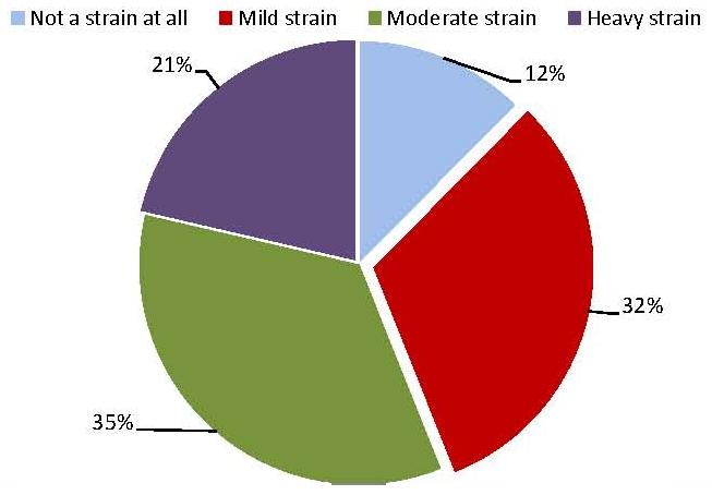 Pie Chart: Not a strain at all (12%); Mild strain (32%); Moderate strain (35%); Heavy strain (21%).