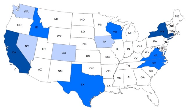 FIGURE 1, State Map: Tier 1--California, Connecticut, New York. Tier 2--Idaho, North Carolina, Texas, Virginia, Wisconsin. Tier 3 -- Colorado, Iowa, Nevada, Washington.