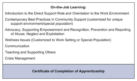 On-the-Job Learning (leads to Certificate of Completion of Apprenticeship): Introduction to the Direct Support Role and Orientation to the Work Environment. Contemporary Best Practices in Community Support (customized for unique support environment/special population). Advocacy, Supporting Empowerment and Recognition, Prevention and Reporting of Abuse, Neglect and Exploitation. Wellness Issues (Customized to Work Setting or Special Population). Communication. Teaching and Supporting Others. Crisis Management.