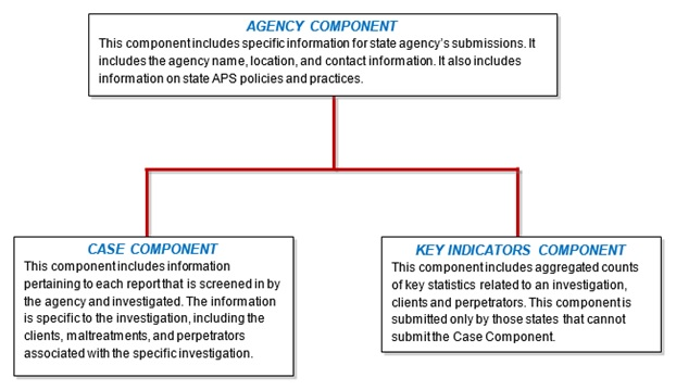 FIGURE 1.1, Organizational Chart: Top Level=Agency Component; Second Level, left side=Case Component; Second Level, right side=Key Indicators Component.