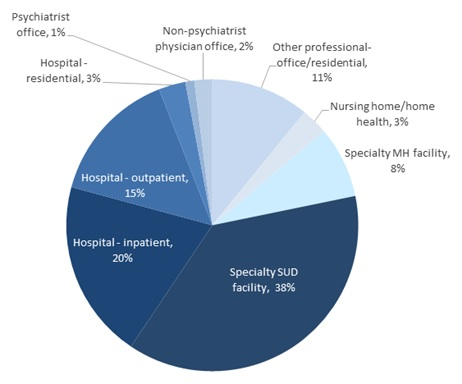 FIGURE II.11, Pie Chart: Hospital-residential (3%), Psychiatrist office (1%), Non-psychiatrist physician office (2%), Other professional-office/residential (11%), Nursing home/home health (3%), Specialty MH facility (8%), Specialty SUD facility (38%), Hospital- inpatient (20%), Hospital- outpatient (15%).