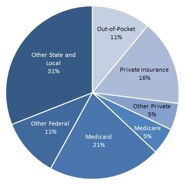 FIGURE II.13, Pie Chart: Other State and Local (31%), Out-of-Pocket (11%), Private Insurance (16%), Other Private (5%), Medicare (5%), Medicaid (21%), Other Federal (11%).