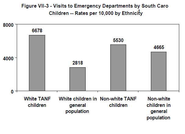 Figure VII-3 - Visits to Emergency Departments by South Carolina Children -- Rates per 10,000 by Ethnicity