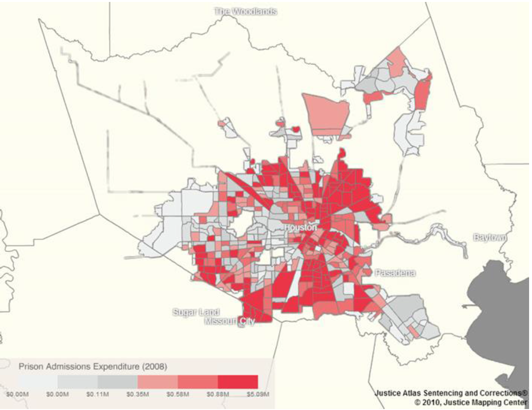 Incarceration Costs by Zip Code, Houston, 2008