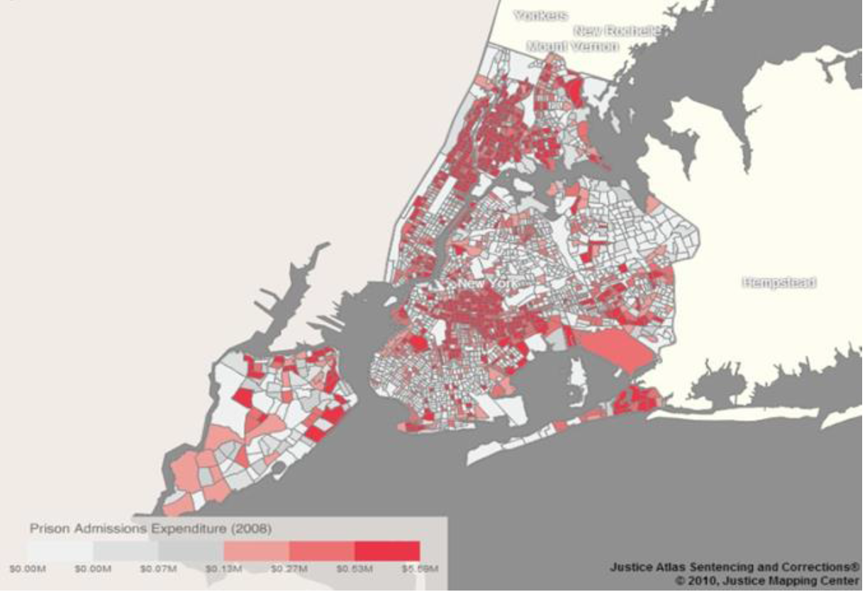 Incarceration Costs by Zip Code, New York City, 2008