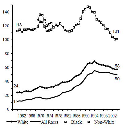 Figure BIRTH 3b. Births per 1,000 Unmarried Teens Ages 18 and 19, by Race: 1960-2004