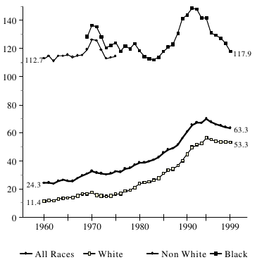 Figure BIRTH 3b. Births per 1,000 Unmarried Teens Ages 18 and 19, by Race: 1960-1999