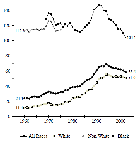 Figure BIRTH 3b. Births per 1,000 Unmarried Teens Ages 18 and 19, by Race: 1960-2002