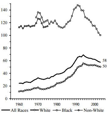 Figure BIRTH 3b. Births per 1,000 Unmarried Teens Ages 18 and 19, by Race: 1960-2003