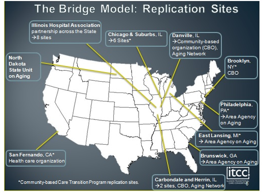FIGURE H-2. Replication Sites for Bridge Model and Community-Based Care Transition Program Sites