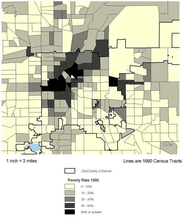 Figure 8.3 Denver County, CO. Poverty Rate 1990