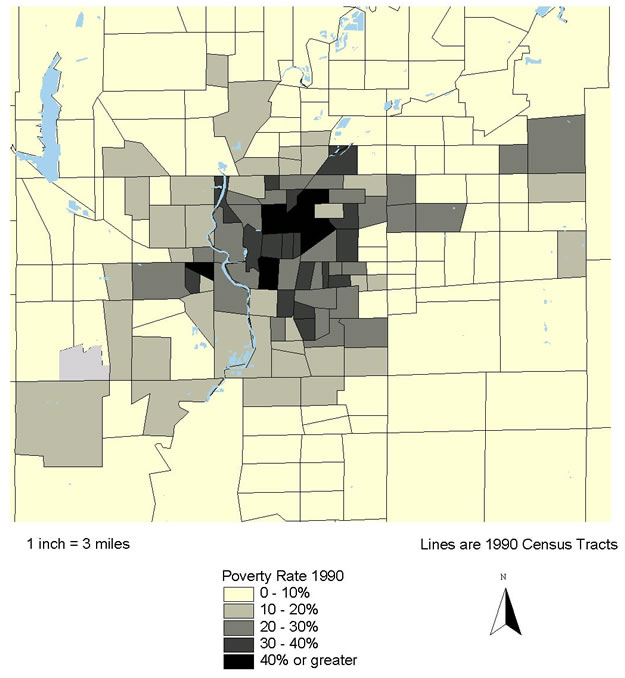 Figure 8.5: Marion County (Indianapolis), IN. Poverty Rate 1990